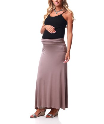 Mocha Maternity Maxi Skirt - Women