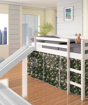 Camo & White Twin Tent Loft Bed & Slide