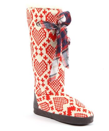 Red Grace Hearts Slipper Boot - Women