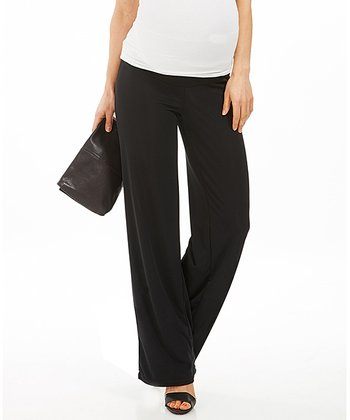 Black Akrissy Under-Belly Maternity Straight-Leg Pants