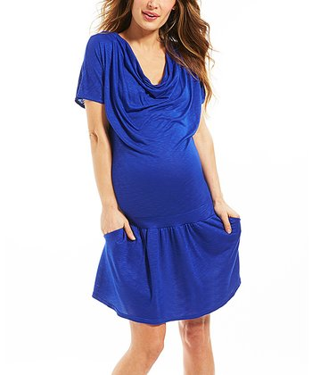 Babeth Blue Cowl Neck Dress