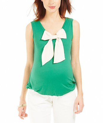 Green Bow Elise Maternity Top