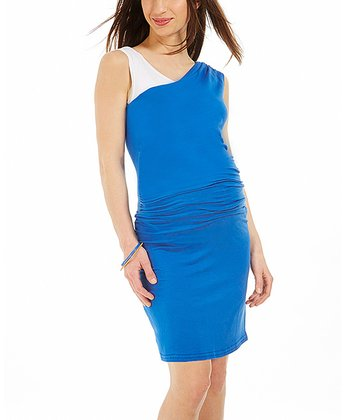 Blue Color Block Fanny Maternity Dress