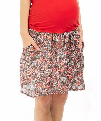 Gray Kira Liberty Under-Belly Maternity Skirt