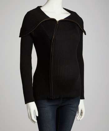 Black Ribbed Shawl Collar Maternity Sweater