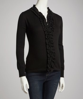 Black Ruffle Maternity Sweater