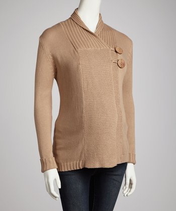 Camel Collar Maternity Sweater