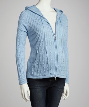 Blue Cable-Knit Maternity Zip-Up Hoodie - Women