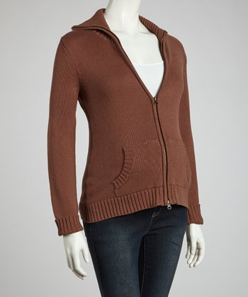 Brown Maternity Zip-Up Sweater