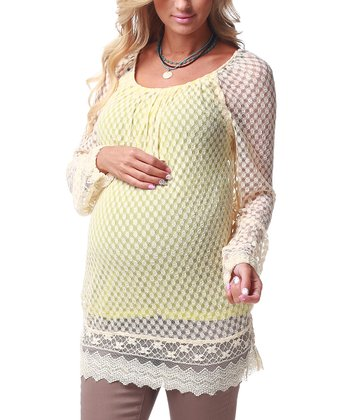 Ivory & Yellow Lace Maternity Tunic