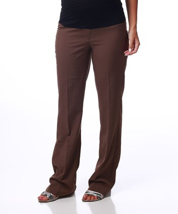 Brown Bootcut Maternity Dress Pants