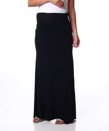 Black Basic Maternity Maxi Skirt