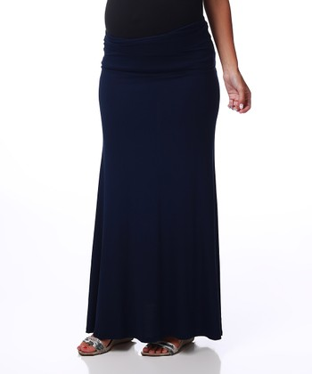 Navy Blue Maternity Maxi Skirt - Women