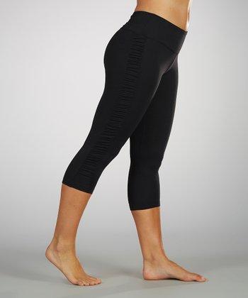 Black Sanded Dry-Wik Ruched Leggings