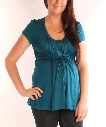 Teal Basket Weave Maternity & Nursing Short-Sleeve Top