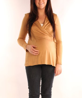 Camel Maternity Long-Sleeve Wrap Top