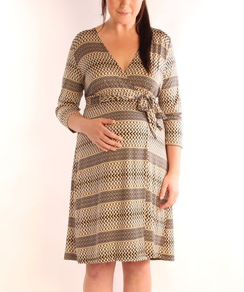 Camel Graphic Maternity & Nursing Wrap Dress