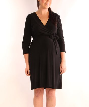 Black Maternity & Nursing Wrap Dress