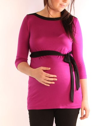Berry & Black Color Block Maternity Boatneck Top