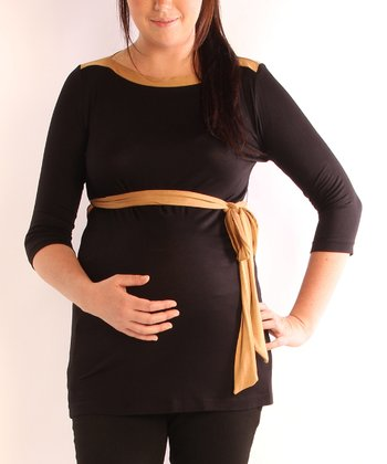 Black & Camel Color Block Maternity Boatneck Top