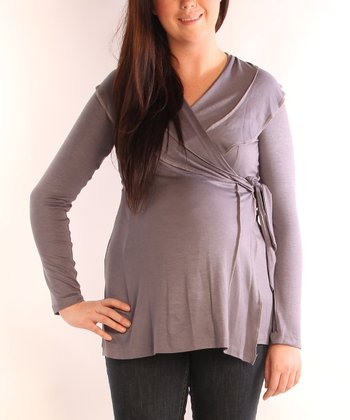 Gray Collared Tie Maternity Wrap Cardigan