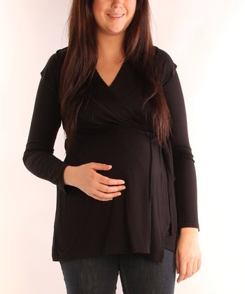 Black Collared Tie Maternity Wrap Cardigan