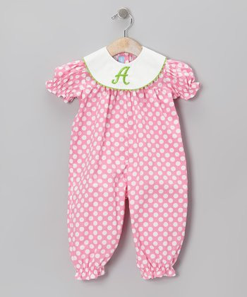 Pink Polka Dot Initial Playsuit - Infant