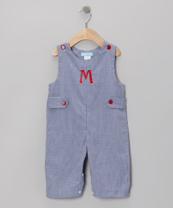 Navy Gingham Initial Overalls - Infant & Toddler