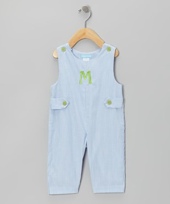 Light Blue Stripe Initial Overalls - Infant & Toddler