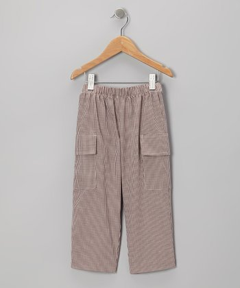 Brown Gingham Cargo Pants - Toddler & Boys