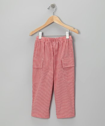 Red Gingham Cargo Pants - Toddler & Boys