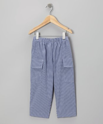Navy Gingham Cargo Pants - Toddler & Boys