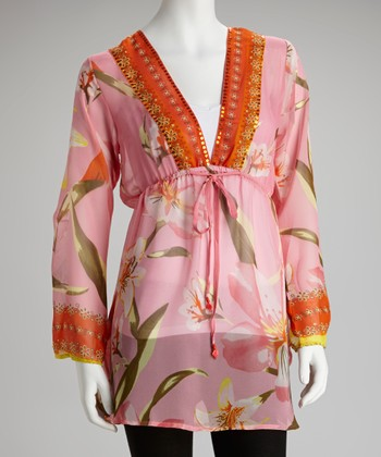 Pink & Orange V-Neck Tunic - Women