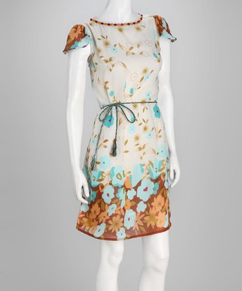 Ivory & Brown Floral Dress - Women