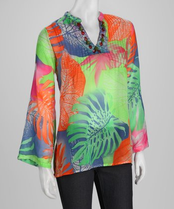 Orange & Green Leaf Tunic - Women