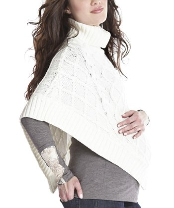 Ivory Cable-Knit Maternity Poncho
