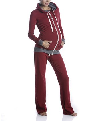 Burgundy Maternity Zip-Up Hoodie & Sweatpants