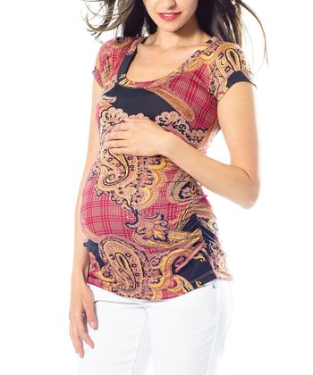 Navy & Red Paisley Hailey Maternity Short-Sleeve Top