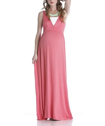Coral Maternity V-Neck Maxi Dress