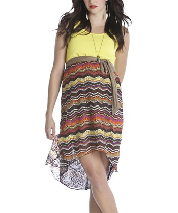 Orange & Yellow Zigzag Avery Maternity Dress