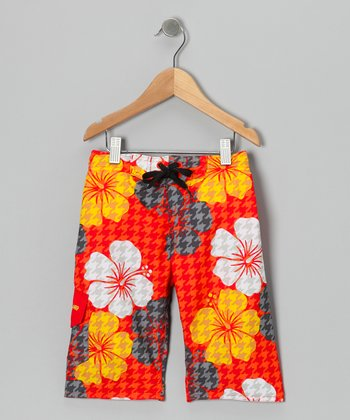 Red Bora Bora Boardshorts