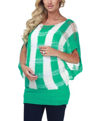 Green & White Stripe Maternity Sweater