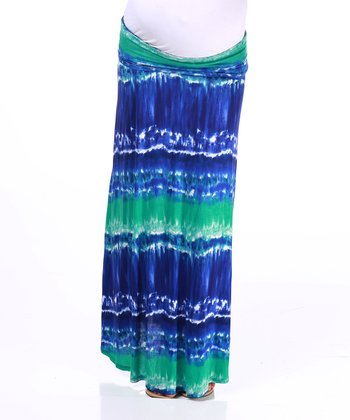 Blue & Green Tie-Dye Maternity Maxi Skirt
