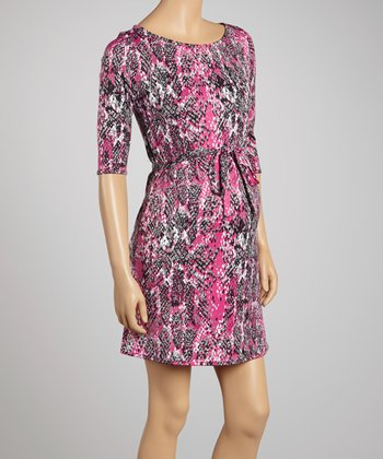 Fuchsia Snake Maternity Shift Dress