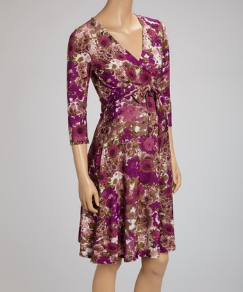 Amethyst Floral	Maternity Wrap Dress