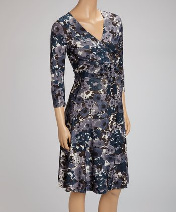 Inky Floral Perfect Maternity Wrap Dress