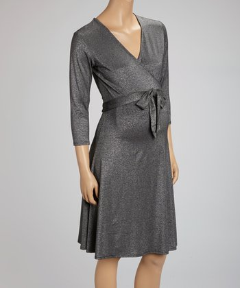 Black Sparkle Perfect Maternity Wrap Dress