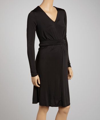 Black Tie-Waist Maternity Dress