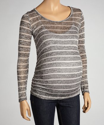 Charcoal & Ivory Stripe Maternity Long-Sleeve Top - Women