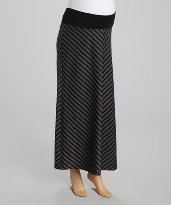 Black & Charcoal Diagonal Stripe Maternity Maxi Skirt - Women